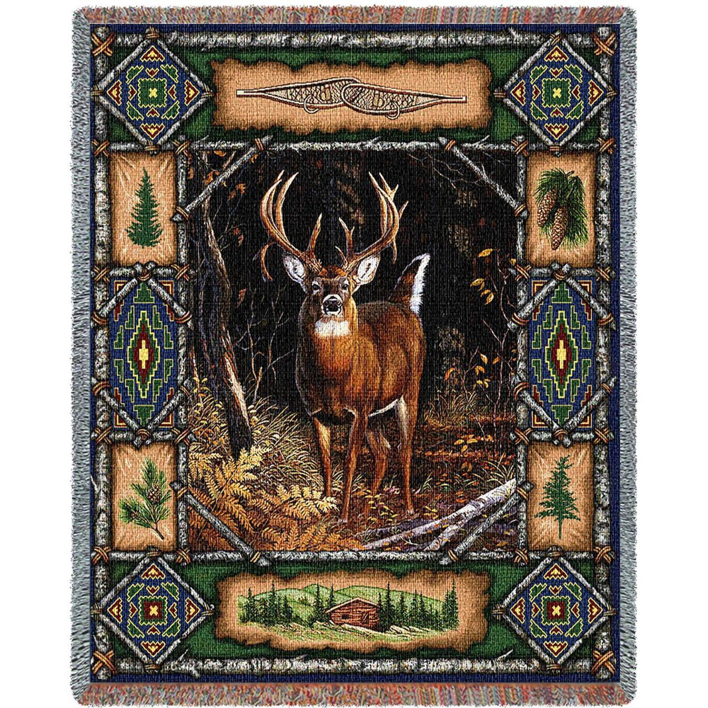 Deer Lodge Tapestry Throw Blanket   Pure Country   pc3340T