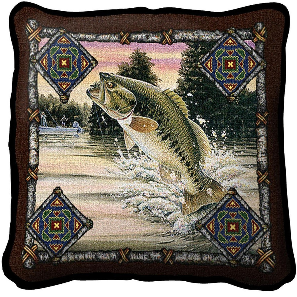 Fish Lodge Woven Throw Pillow | Pure Country | pc3342p
