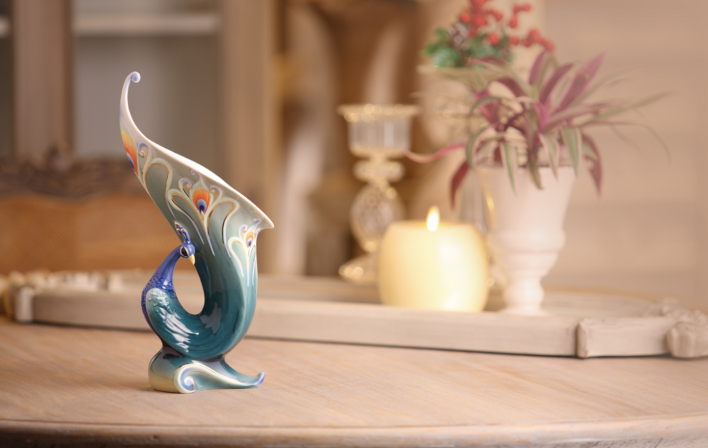 Luminescence Peacock Small Vase | fz01514 | Franz Porcelain Collection