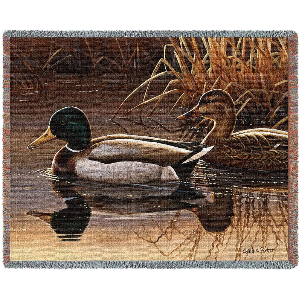 Quiet Couple Duck Woven Throw Blanket | Pure Country | pc4713T