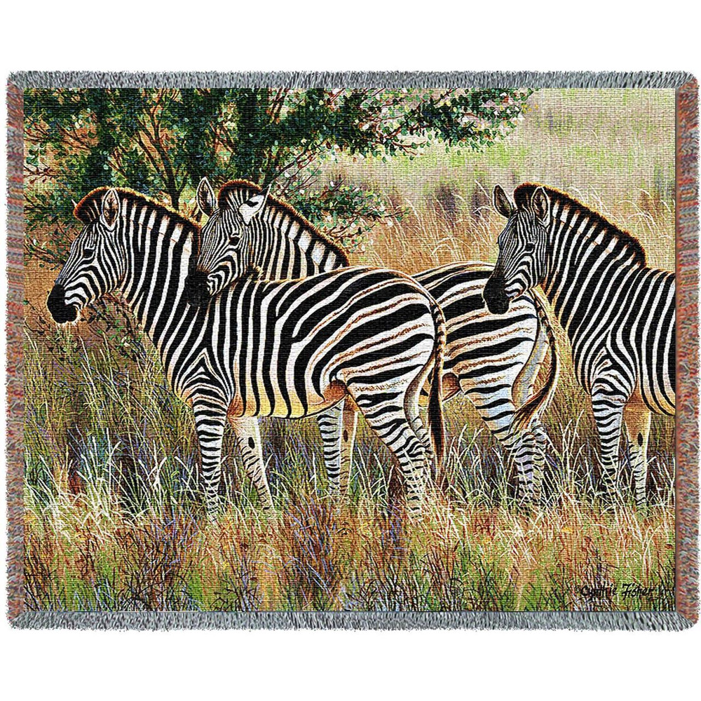 Three Zebra Group Tapestry Afghan Throw Blanket   Pure Country   pc4714T