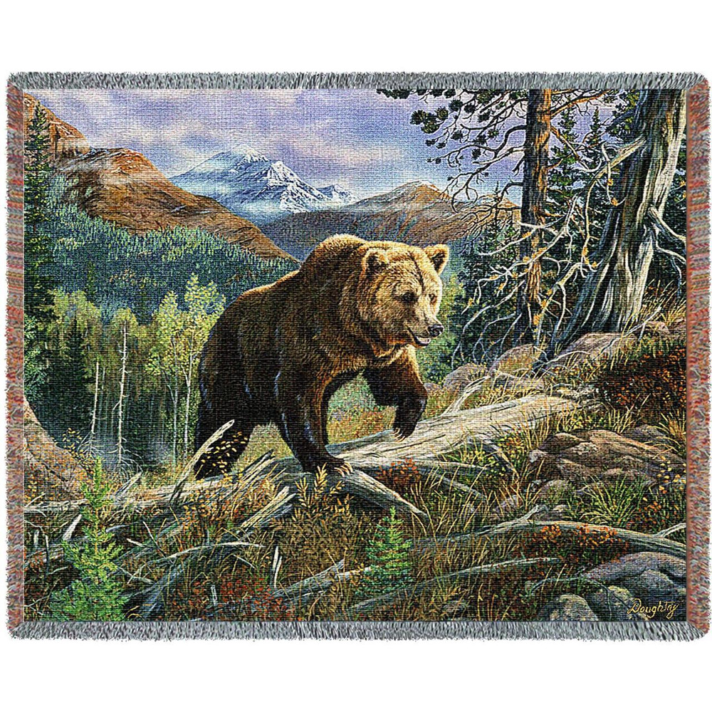Bear Over the Top Tapestry Afghan Throw Blanket | Pure Country | pc4724T