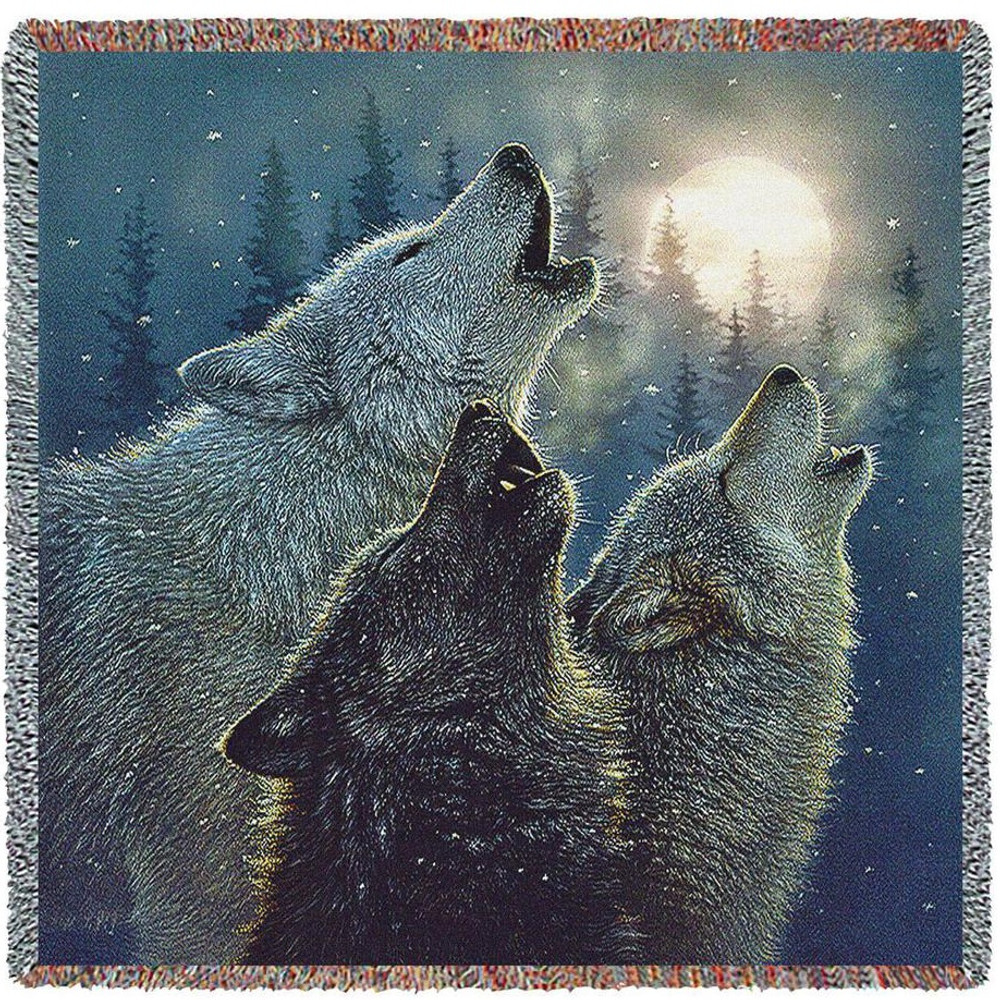 Wolf Tapestry Throw Blanket In Harmony | Pure Country | pc4807T