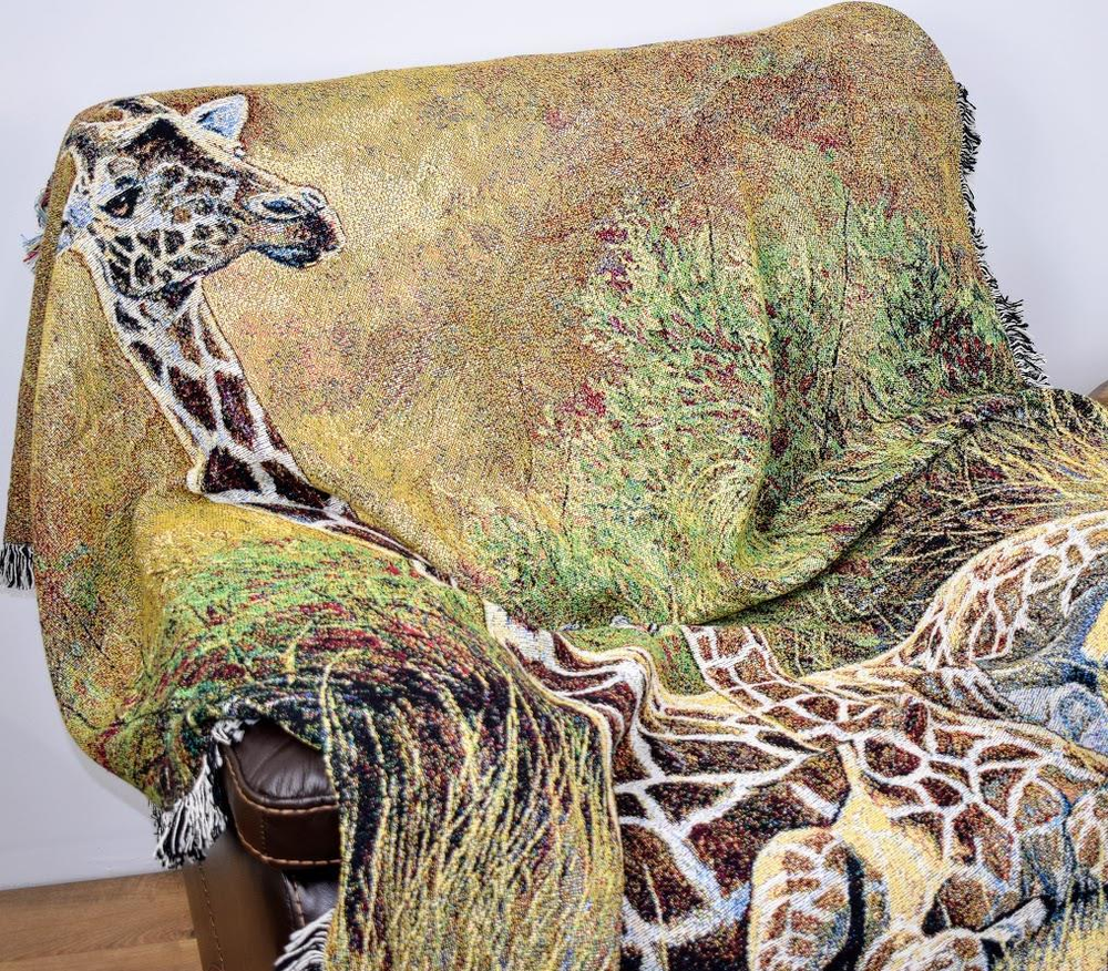Giraffe Tapestry Afghan Throw Blanket Mother and Son | Pure Country | pc5636T