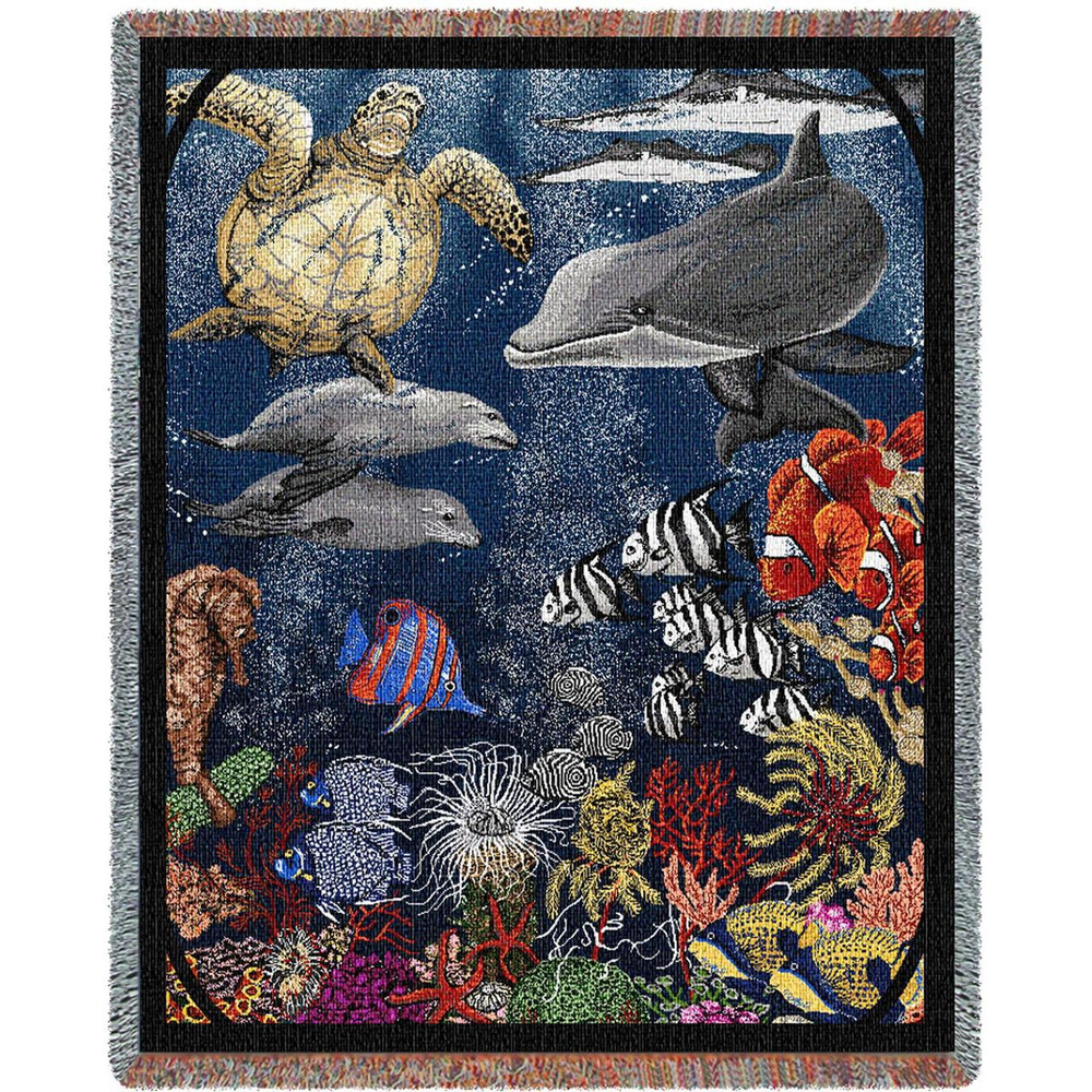 Under Water Dolphin Woven Throw Blanket | Pure Country | pc642T