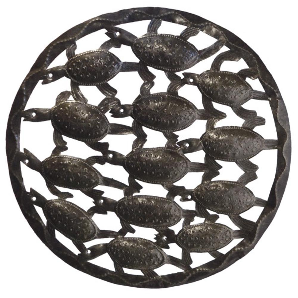Bale of Turtles Recycled Steel Drum Wall Art | Le Primitif | LP3054