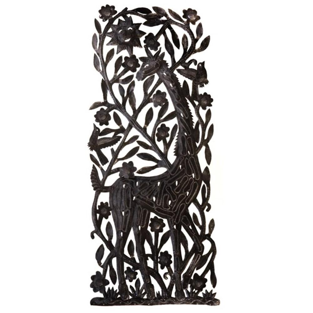 Giraffe Recycled Steel Drum Wall Art   Le Primitif   LP5008