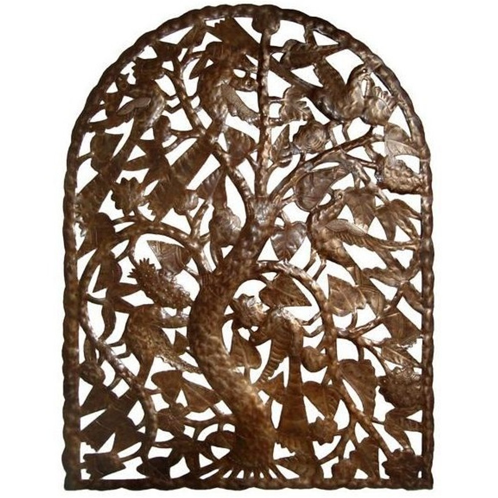 Bird and Tree Arch Recycled Steel Drum Wall Art | Le Primitif | LP6014