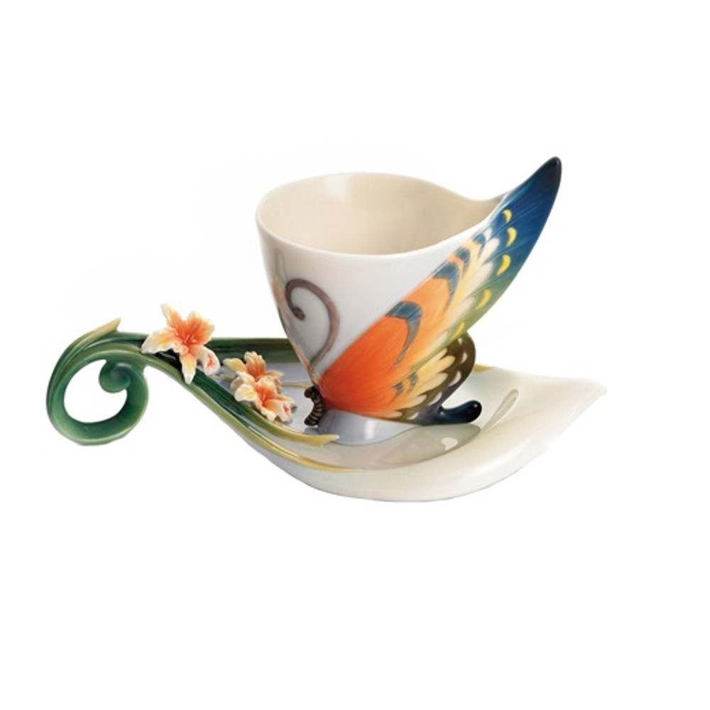 Tiger Swallowtail Cup and Saucer   FZ01672   Franz Porcelain Collection