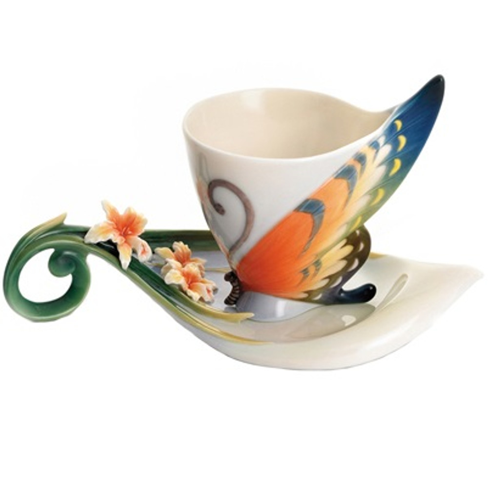 Tiger Swallowtail Cup and Saucer   FZ01672   Franz Porcelain Collection -2