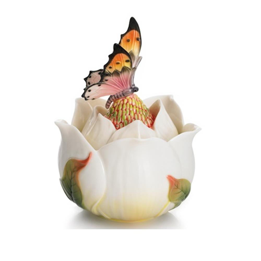 Floral Blossom Magnolia Lidded Jewelry Box   Franz Porcelain Jewelry
