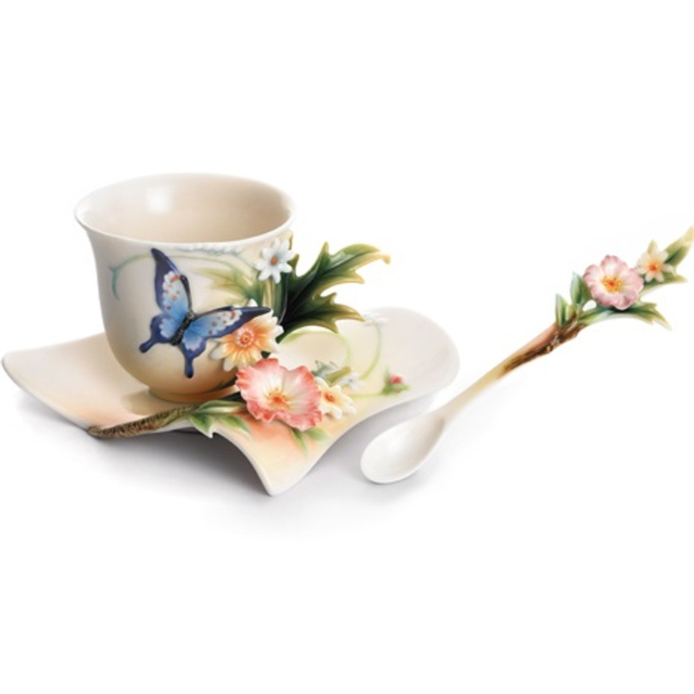 Fluttering Beauty Butterfly Cup Saucer Spoon | FZ01838 | Franz Porcelain Collection -2