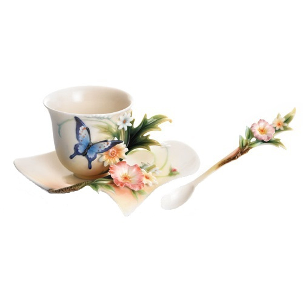 Fluttering Beauty Butterfly Cup Saucer Spoon | FZ01838 | Franz Porcelain Collection