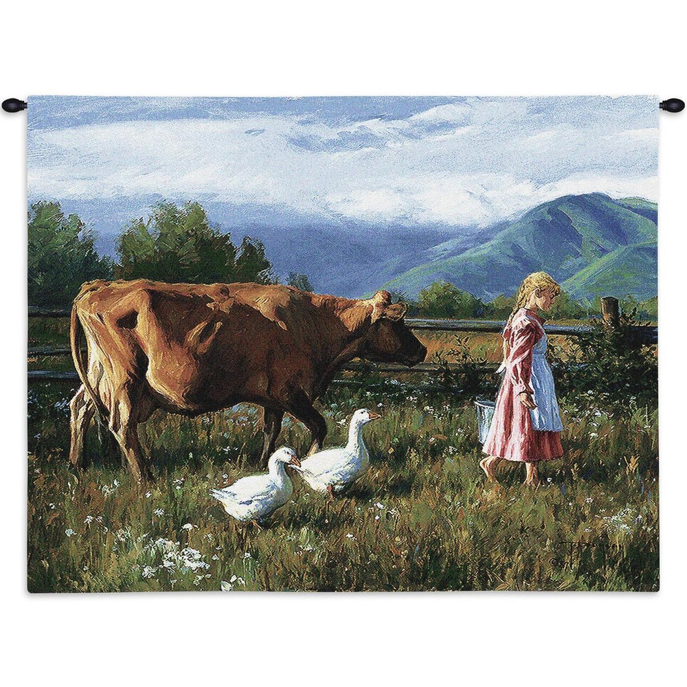 Morning Walk Cow Tapestry Wall Hanging   Pure Country   pc2339wh