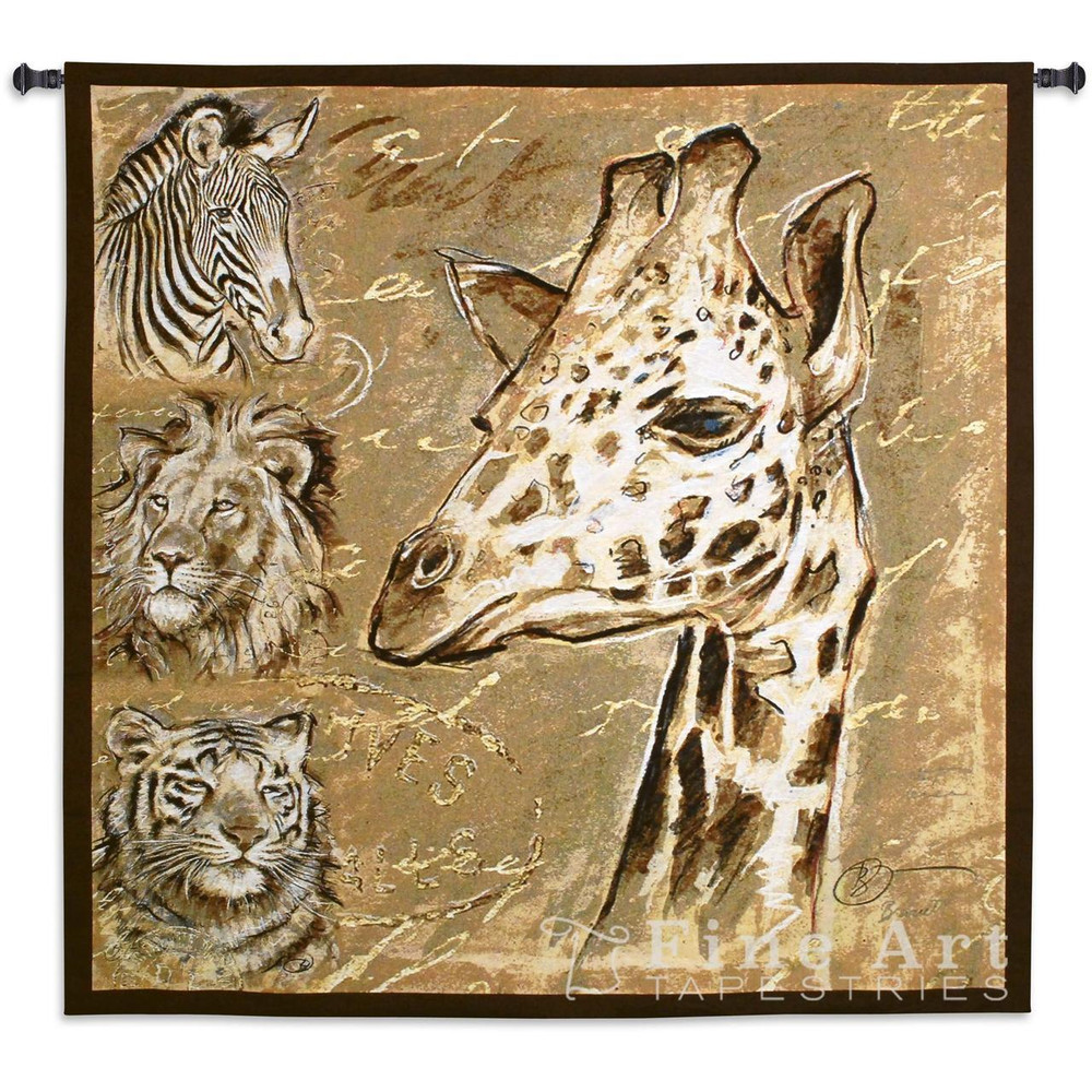 Giraffe Tiger Lion Zebra Safari Tapestry Wall Hanging | Pure Country | pc6152wh