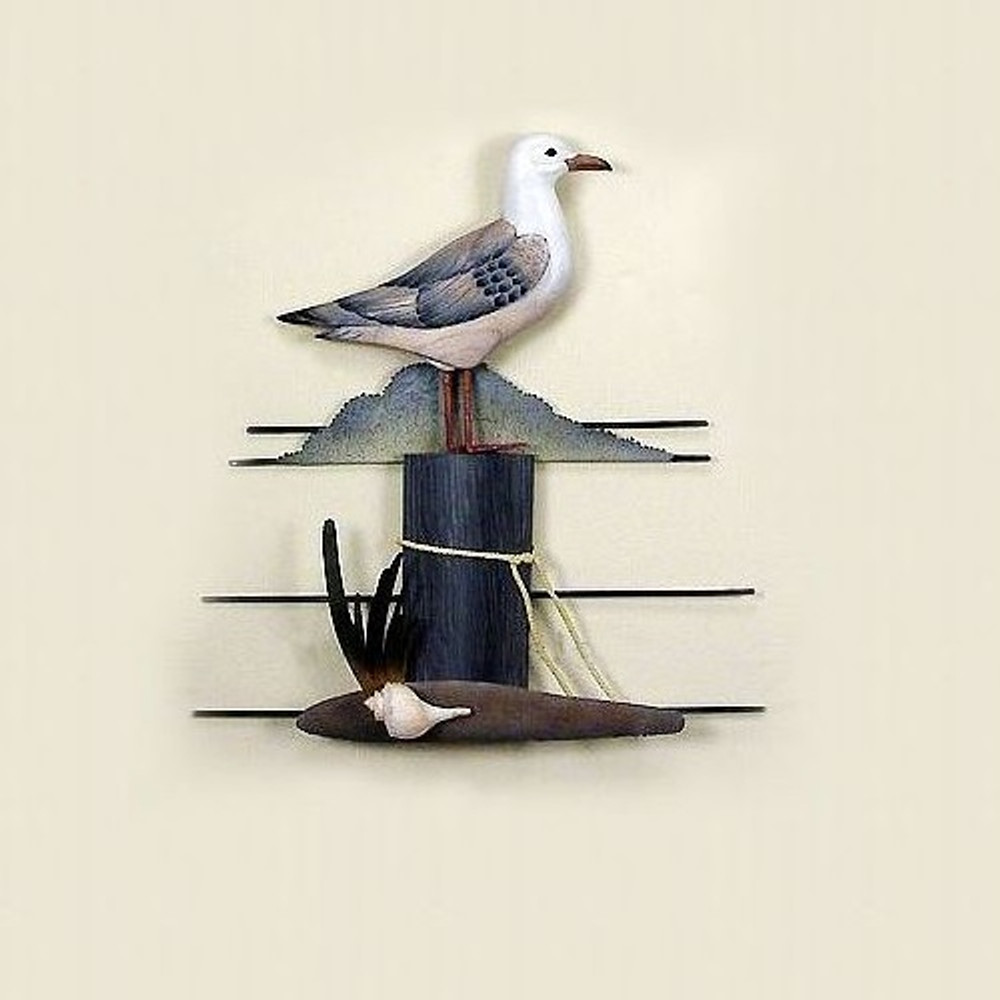 Seagull on Piling Wall Sculpture | TI Design | CW232