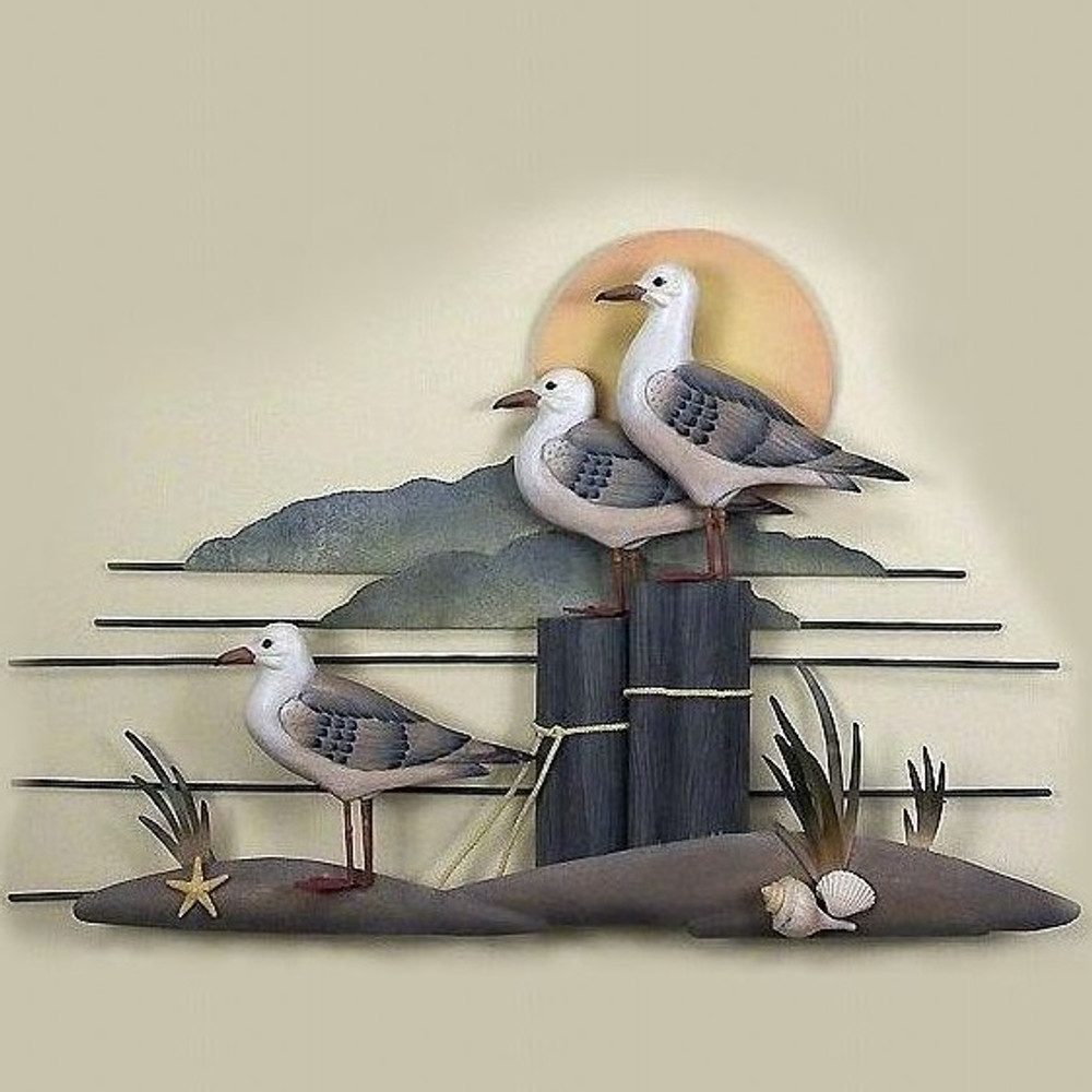 Seagull Trio Wood and Metal Wall Sculpture | TI Design | CW233