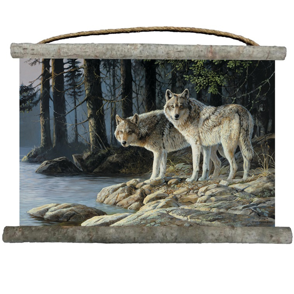 "Wolf Canvas Wall Hanging ""Shades of Gray"" 