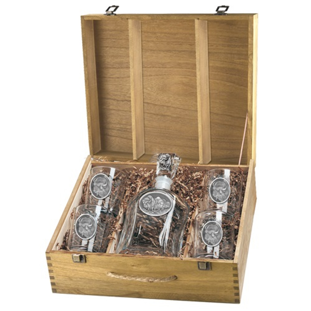 Buffalo Decanter Set   Heritage Pewter   HPICPTB101