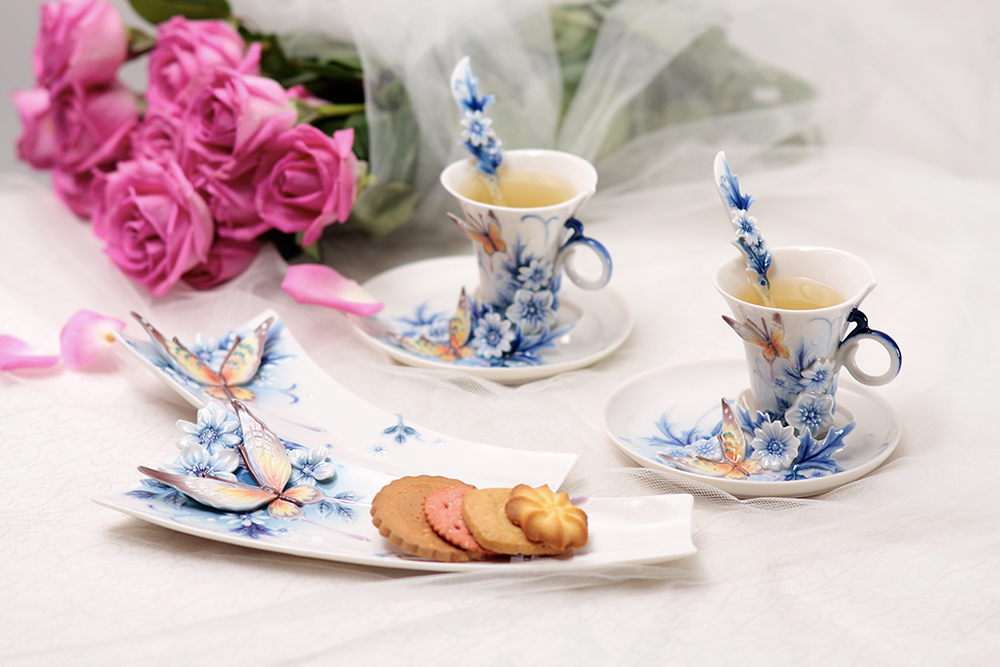 Butterfly Forever Wedding Cup Saucer Spoon   FZ02057   Franz Porcelain Collection