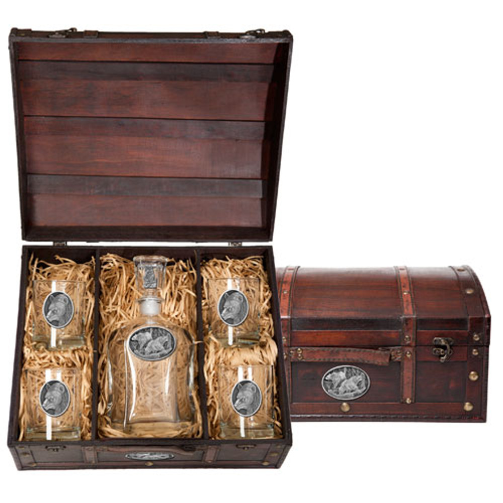Black Bear Decanter Chest Set | Heritage Pewter | HPICPTC113