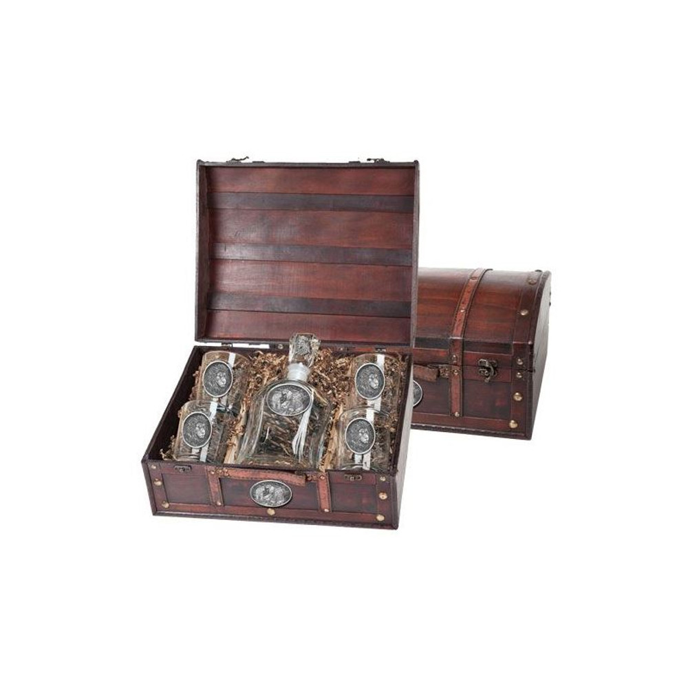 Lion Decanter Chest Set | Heritage Pewter | HPICPTC119