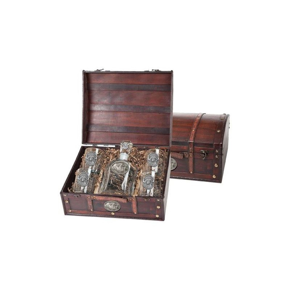 Cape Buffalo Decanter Chest Set | Heritage Pewter | HPICPTC121