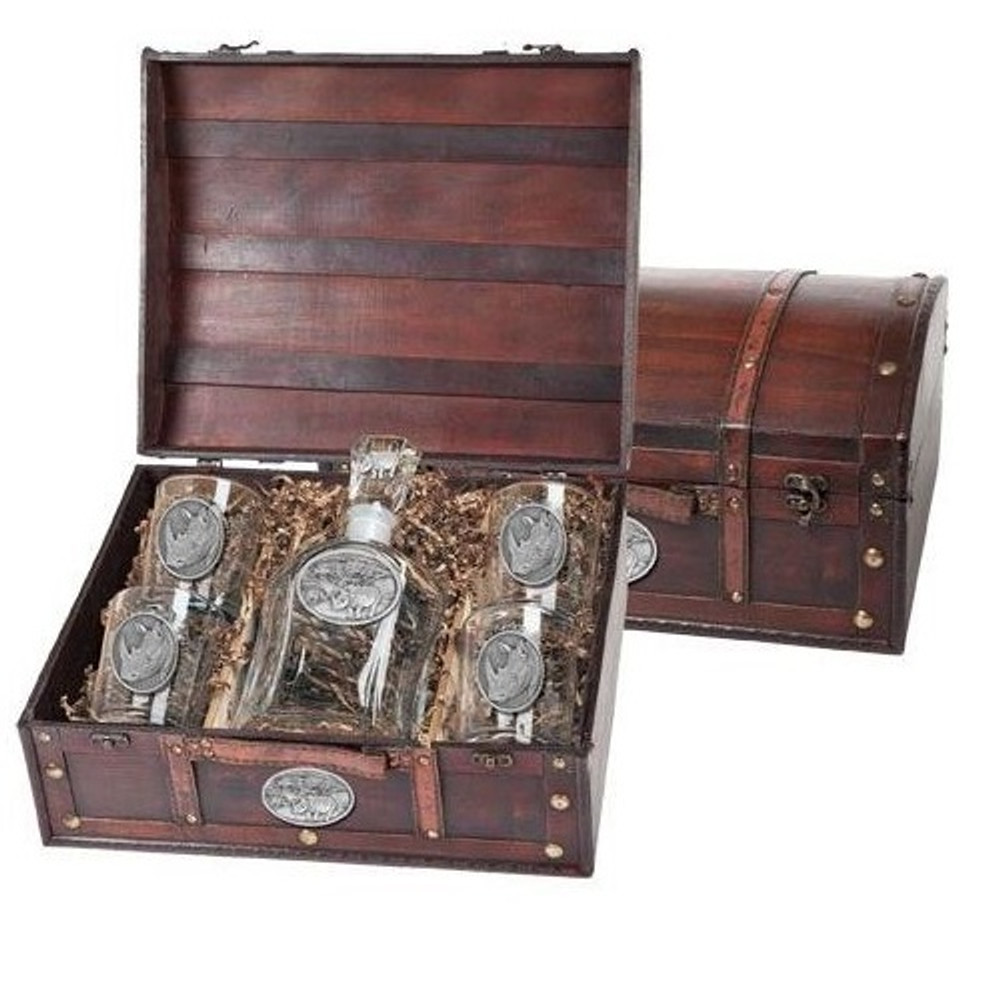 White Rhino Decanter Chest Set | Heritage Pewter | HPICPTC136