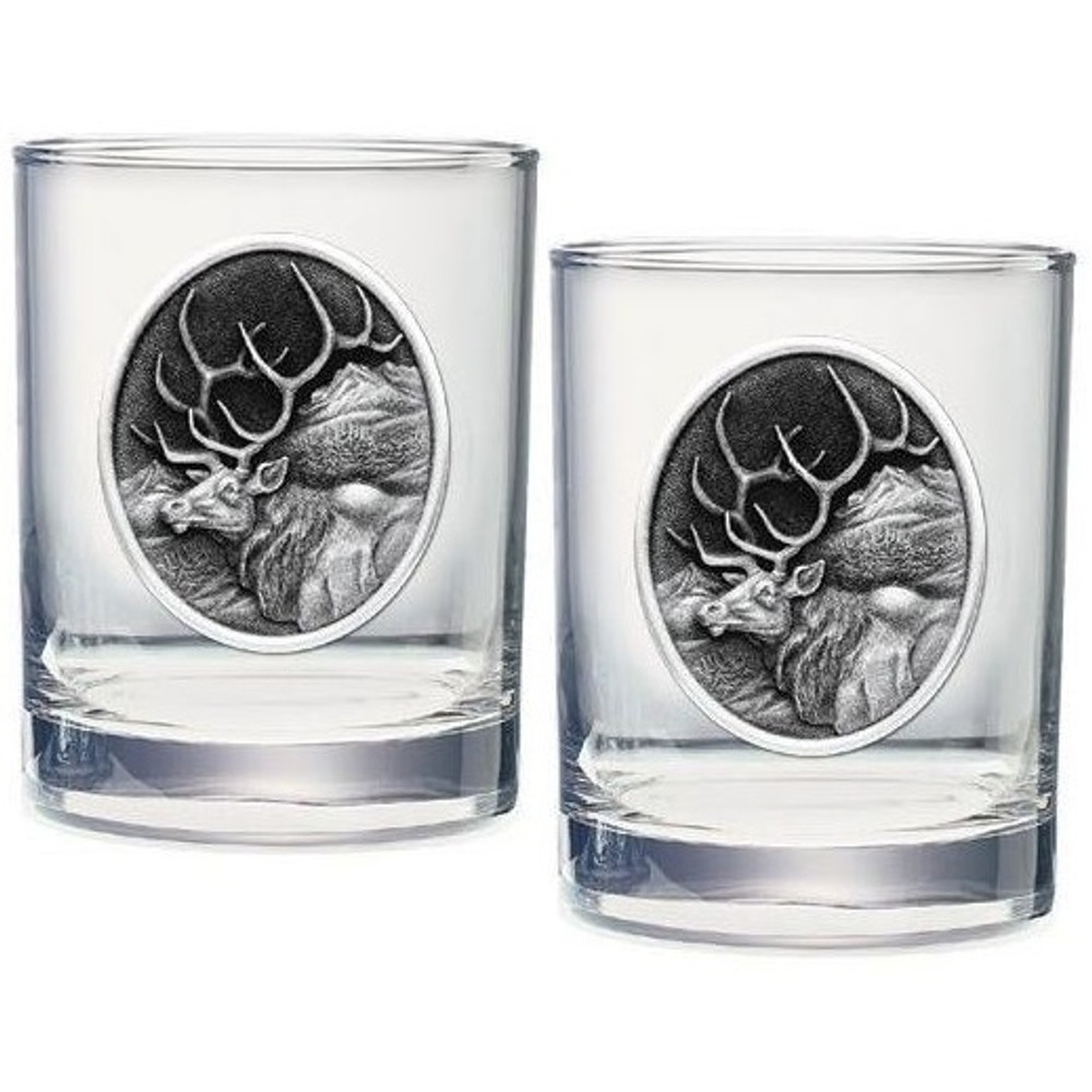 Elk Double Old Fashioned Glass Set of 2 | Heritage Pewter | HPIDOF203