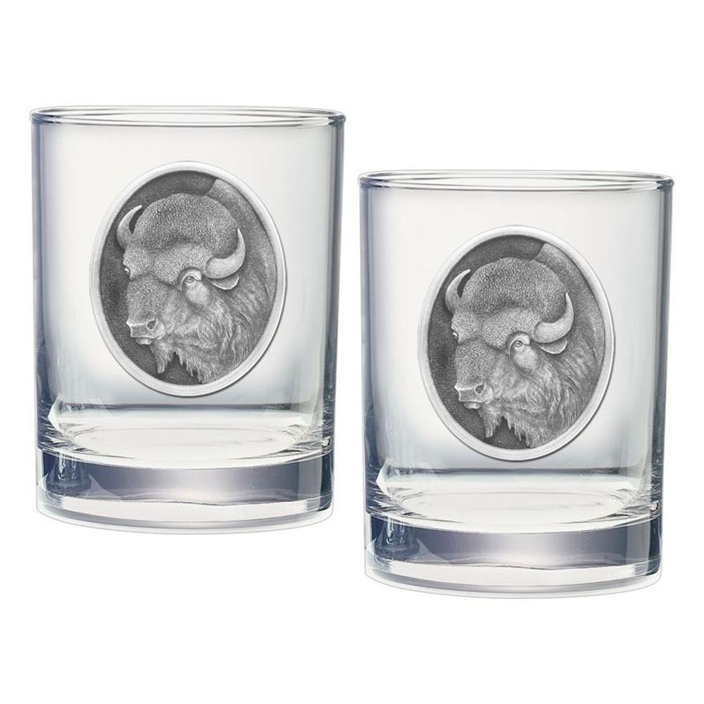 Buffalo Double Old Fashioned Glass Set of 2 | Heritage Pewter | HPIDOF206