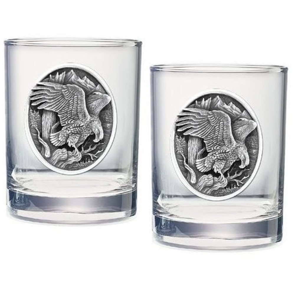 Eagle Double Old Fashioned Glass Set of 2   Heritage Pewter   HPIDOF215