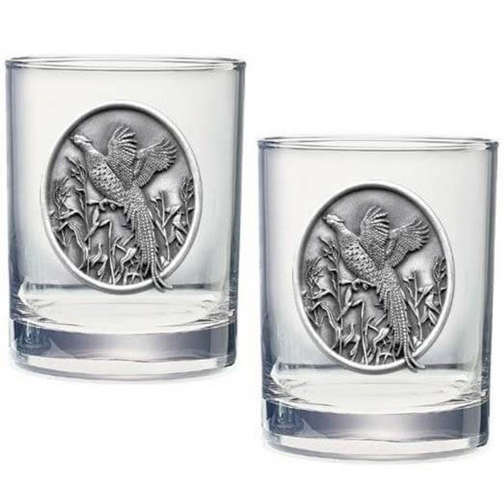 Pheasant Double Old Fashioned Glass Set of 2 | Heritage Pewter | HPIDOF224