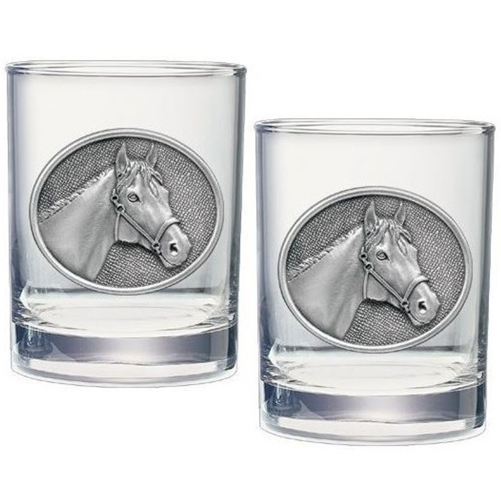 Racehorse Double Old Fashioned Glass Set of 2 | Heritage Pewter | HPIDOF229