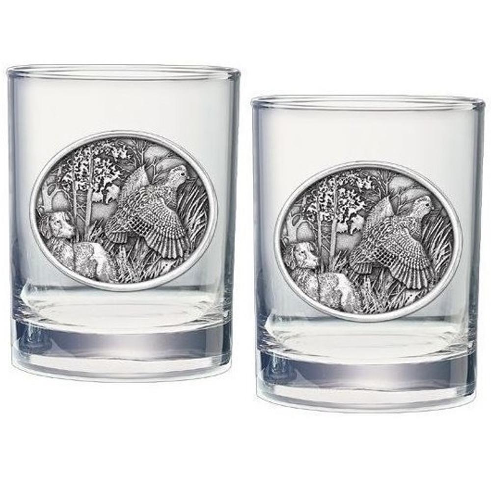 Bobwhite Quail Double Old Fashioned Glass Set of 2 | Heritage Pewter | HPIDOF230