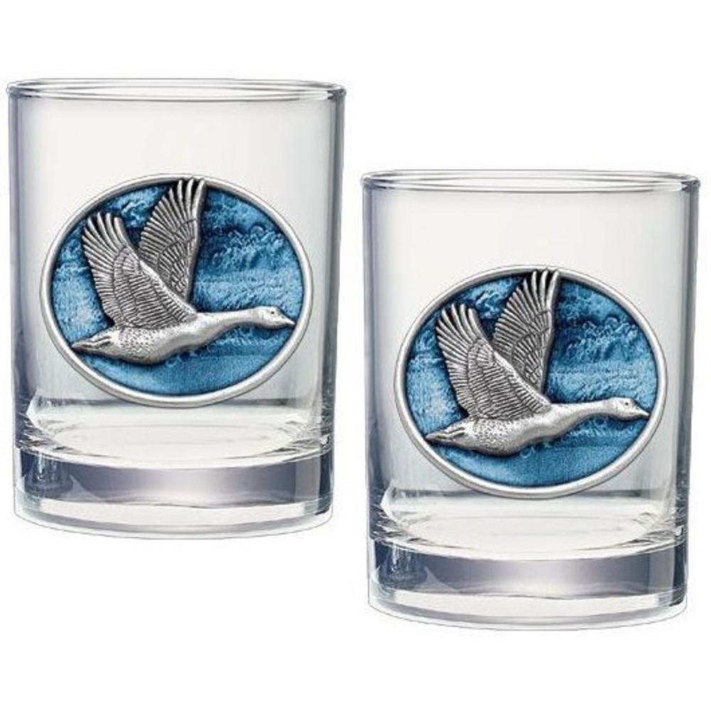 Canadian Goose Double Old Fashioned Glass Set of 2 | Heritage Pewter | HPIDOF233EB