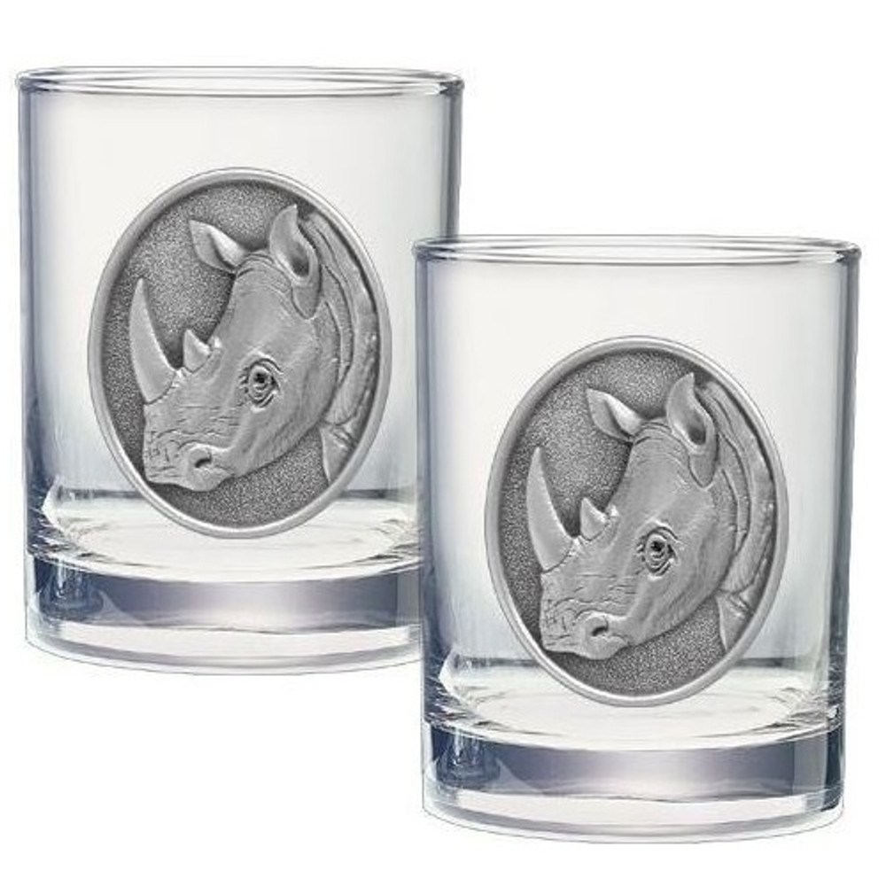 Rhino Double Old Fashioned Glass Set of 2 | Heritage Pewter | HPIDOF236