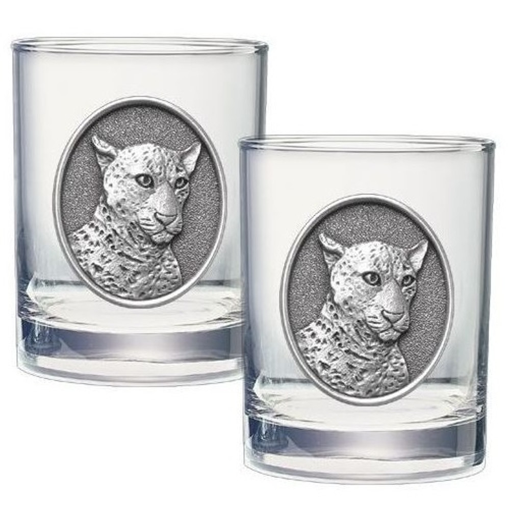 Leopard Double Old Fashioned Glass Set of 2 | Heritage Pewter | HPIDOF237