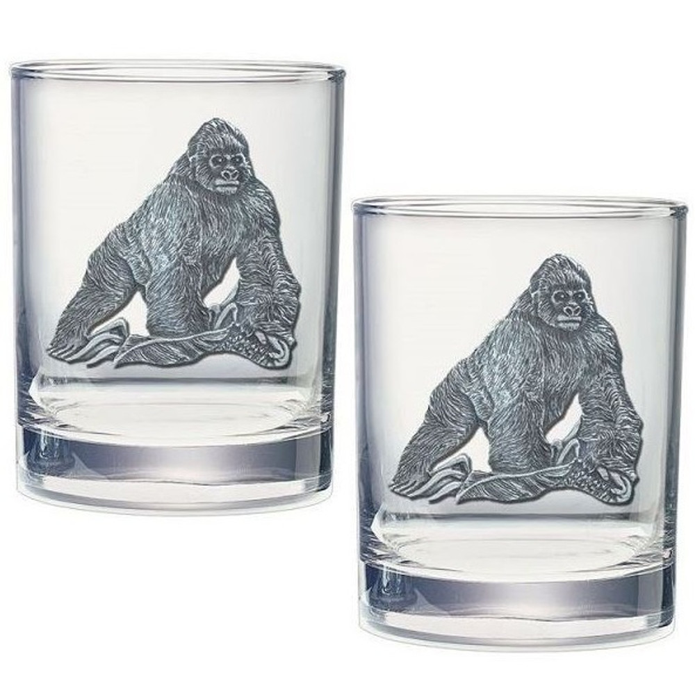Gorilla Double Old Fashioned Glass Set of 2 | Heritage Pewter | HPIDOF3998
