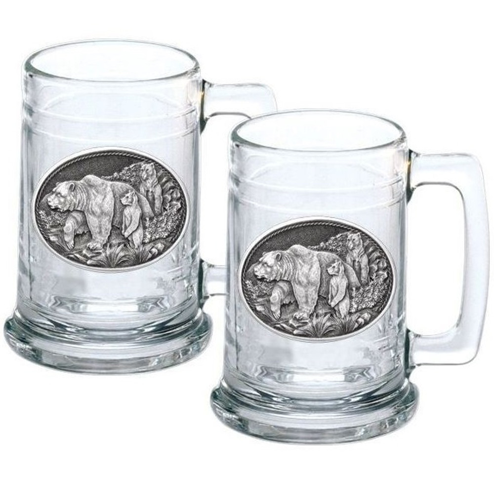 Grizzly Bear Stein Set of 2 | Heritage Pewter | HPIST105