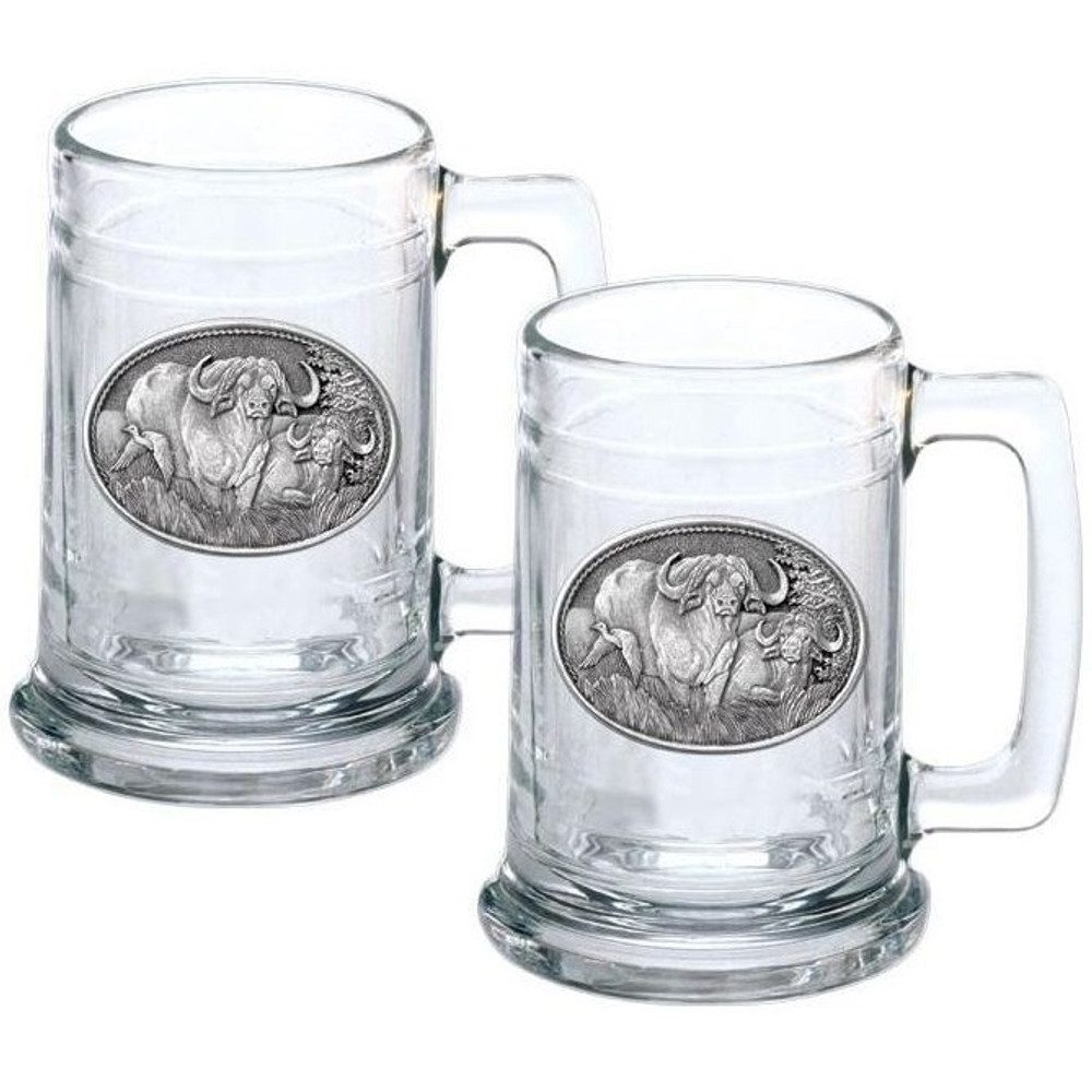 Cape Buffalo Stein Set of 2 | Heritage Pewter | HPIST121
