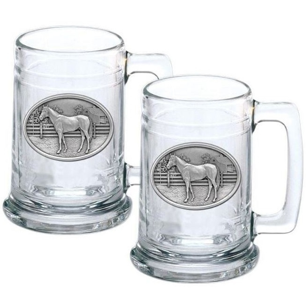 Racehorse Stein Set of 2 | Heritage Pewter | HPIST129