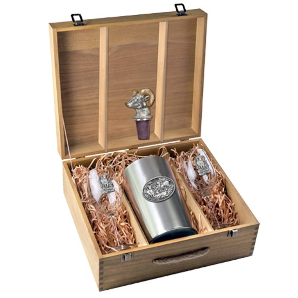 Bighorn Sheep Wine Set | Heritage Pewter | HPIWSB115