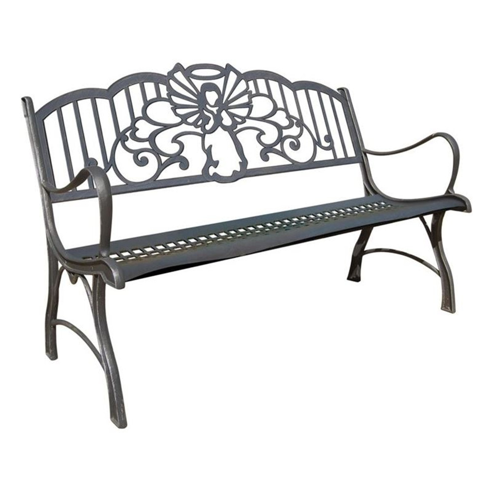 Angel Cast Iron Garden Bench | Painted Sky | PSPB-IAG-100BR