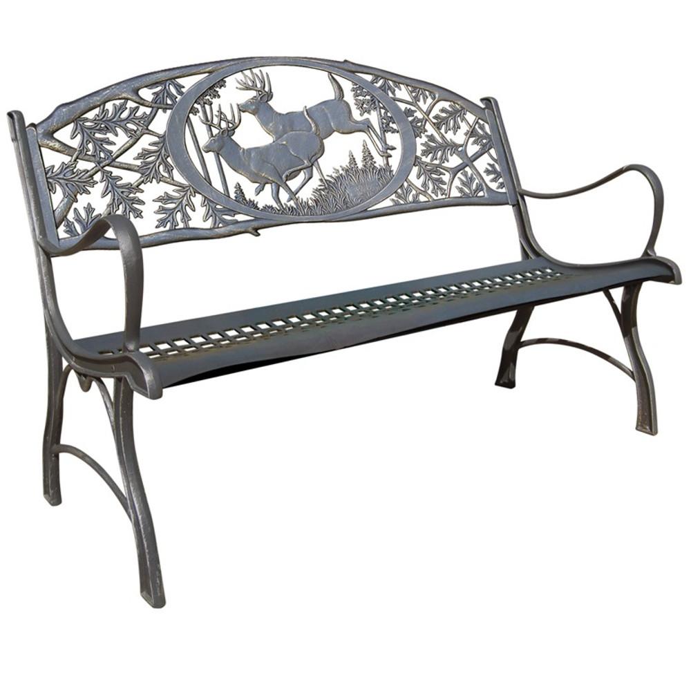 Deer Cast Iron Garden Bench   Painted Sky   PSPB-IBK-100BR