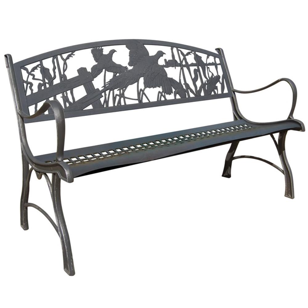 Pheasant Cast Iron Garden Bench   Painted Sky   PSPB-IPH-100BR