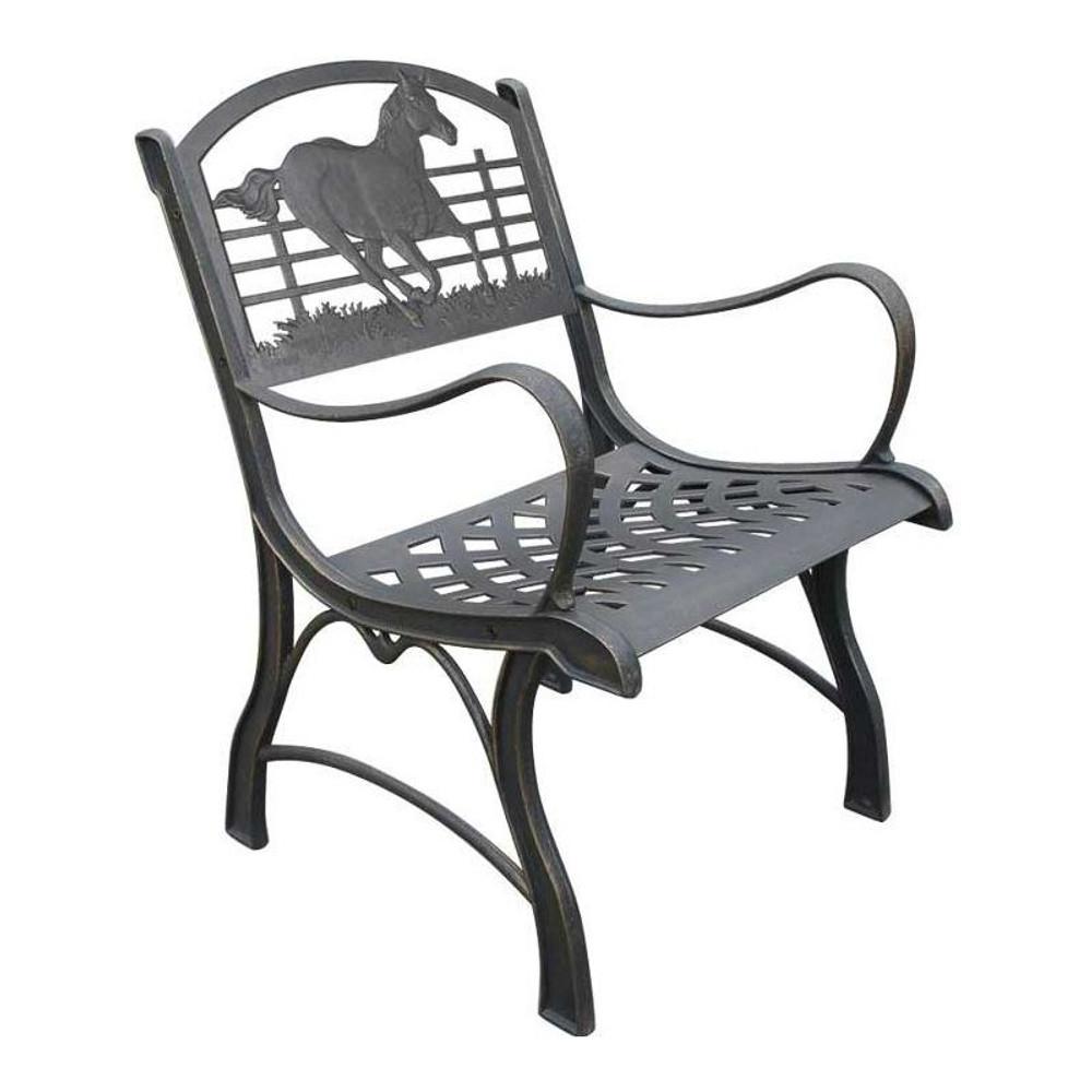 Running Horse Cast Iron Chair   Painted Sky   PSPC-IRH-200BR