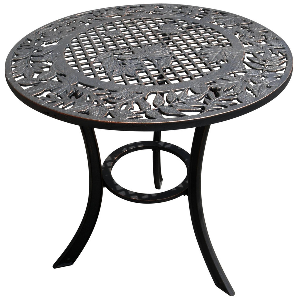 Leaf Design Iron Patio Table | Painted Sky | PCT-LV