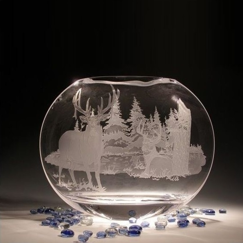 Whitetail Deer Neo Crystal Oval Vase   Evergreen Crystal   EC011LE-TR57