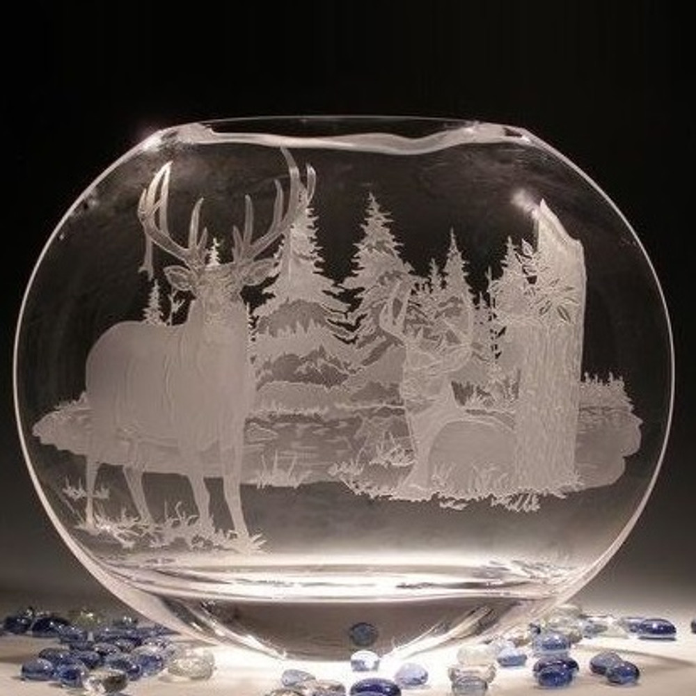 Whitetail Deer Neo Crystal Oval Vase   Evergreen Crystal   EC011LE-TR57 -2