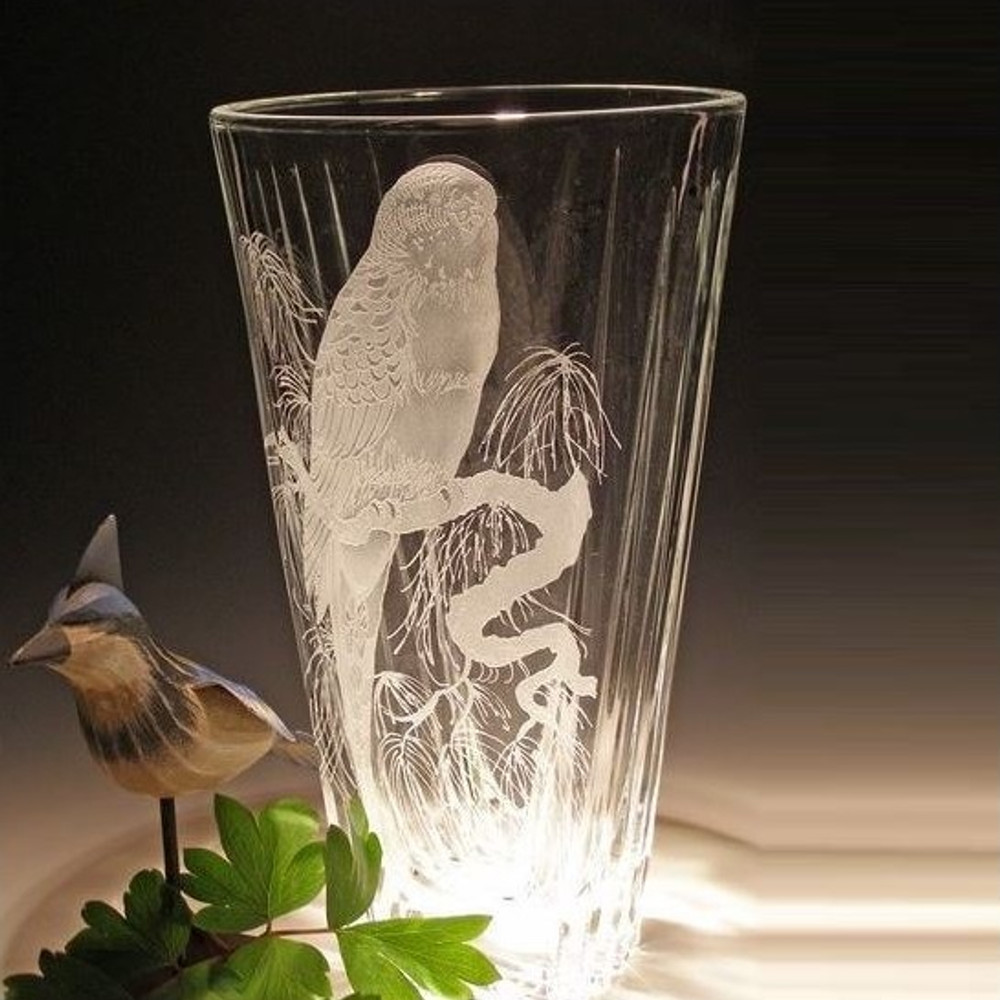 Parrot Cut Crystal Vase | Evergreen Crystal | EC013-p